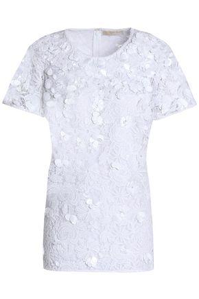 MICHAEL MICHAEL KORS Floral-appliquéd guipure lace top