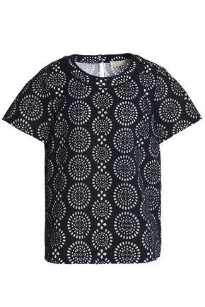 MICHAEL MICHAEL KORS Layered laser-cut jersey and mesh T-shirt