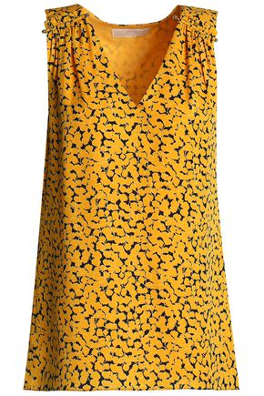 MICHAEL MICHAEL KORS Gathered printed silk crepe de chine top
