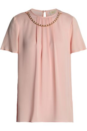 MICHAEL MICHAEL KORS Chain-embellished pleated silk crepe de chine blouse