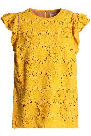 MICHAEL MICHAEL KORS Floral-appliquéd broderie anglaise silk top