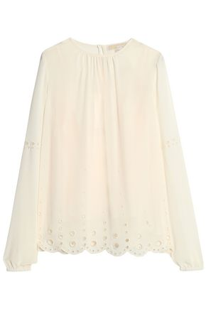 MICHAEL MICHAEL KORS Broderie anglaise-trimmed georgette blouse