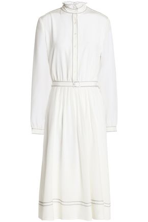 VANESSA SEWARD Belted pleated silk crepe de chine dress
