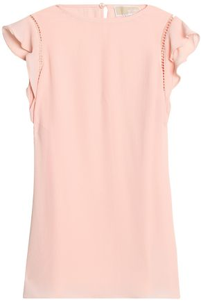 MICHAEL MICHAEL KORS Open knit-trimmed ruffled crepe top