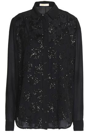 MICHAEL MICHAEL KORS Sequin-embellished crepe de chine shirt