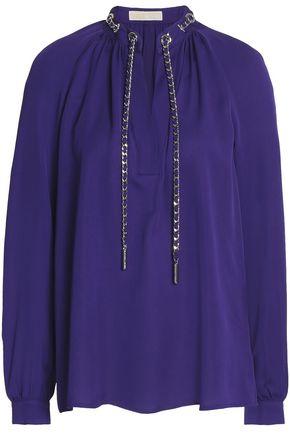 MICHAEL MICHAEL KORS Chain-embellished gathered silk crepe de chine blouse