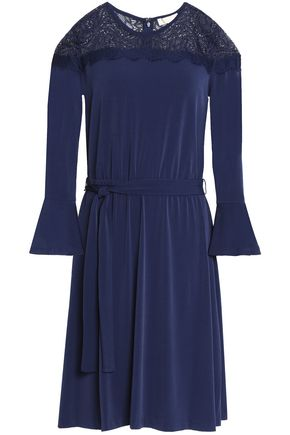 MICHAEL MICHAEL KORS Lace-paneled belted jersey dress