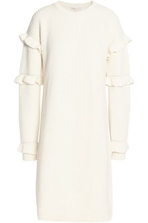 MICHAEL MICHAEL KORS Ruffle-trimmed ribbed-knit dress