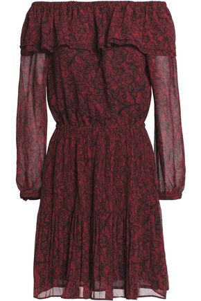MICHAEL MICHAEL KORS Off-the-shoulder printed crepe mini dress