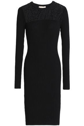 MICHAEL MICHAEL KORS Lace-paneled ribbed-knit dress