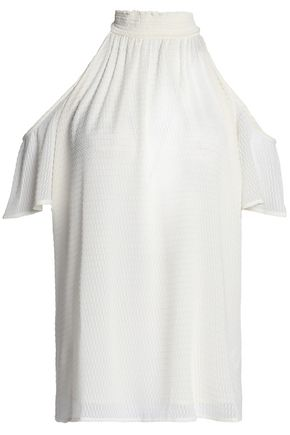 MICHAEL MICHAEL KORS Cold-shoulder shirred fil coupé blouse