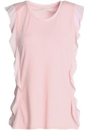 MICHAEL MICHAEL KORS Ruffled cotton and modal-blend jersey top
