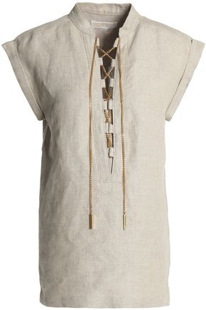 MICHAEL MICHAEL KORS Lace-up chain-embellished linen tunic