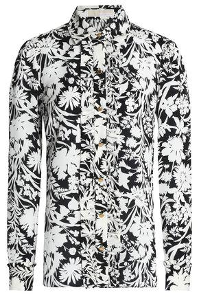 MICHAEL MICHAEL KORS Ruffled printed silk crepe de chine shirt
