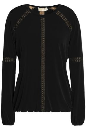 MICHAEL MICHAEL KORS Lace-trimmed stretch-jersey blouse