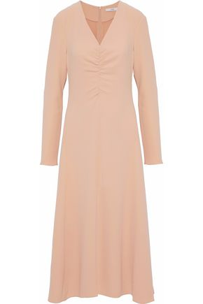 TIBI Ruched crepe midi dress