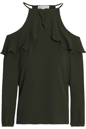 MICHAEL MICHAEL KORS Cold-shoulder ruffled crepe blouse