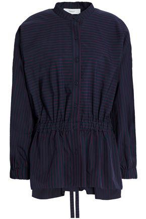 PRINGLE OF SCOTLAND Gathered striped cotton-poplin shirt