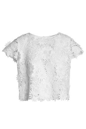 MILLY Floral-appliquéd guipure lace top