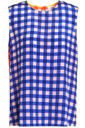 DIANE VON FURSTENBERG Two-tone floral-print silk top