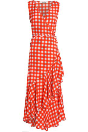 DIANE VON FURSTENBERG Wrap-effect gingham silk-blend crepe de chine midi dress