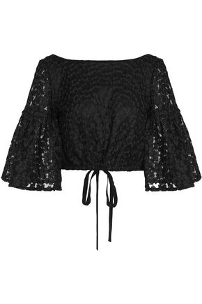 MILLY Cropped embroidered gauze top