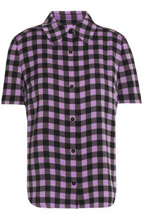 DIANE VON FURSTENBERG Gingham silk-blend crepe de chine shirt