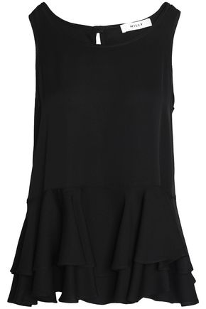 MILLY Fluted stretch-silk peplum top