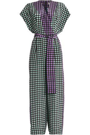 DIANE VON FURSTENBERG Wrap-effect gingham silk crepe de chine jumpsuit