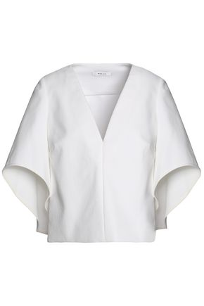 MILLY Draped twill blouse