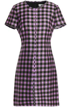 DIANE VON FURSTENBERG Gingham cotton and silk-blend twill mini dress