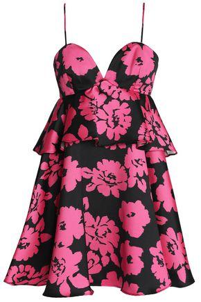 MILLY Ruffled floral-print twill mini dress