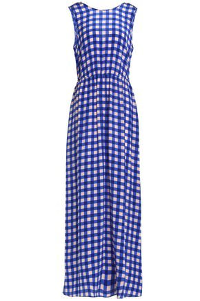 DIANE VON FURSTENBERG Gingham silk crepe de chine maxi dress