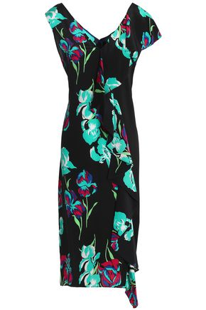 DIANE VON FURSTENBERG One-shoulder floral-print silk crepe de chine maxi dress