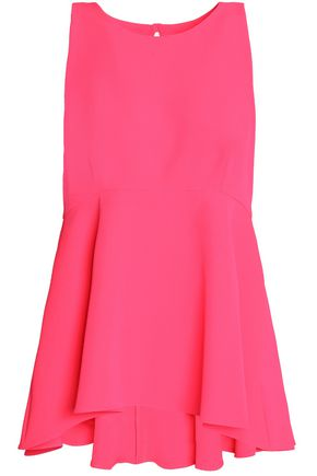 MILLY Fluted neon cady peplum top