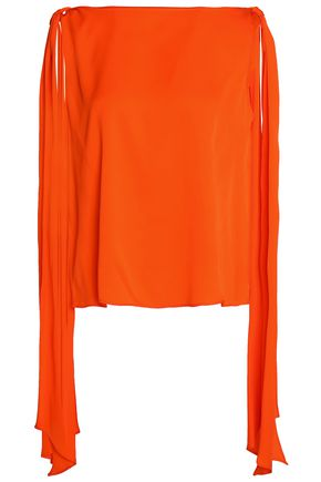 MILLY Draped stretch-silk blouse