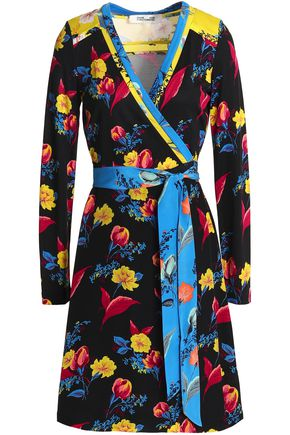 DIANE VON FURSTENBERG Paneled printed silk and jersey mini wrap dress