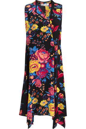 DIANE VON FURSTENBERG Draped floral-print silk crepe de chine wrap dress