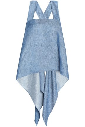 MILLY Asymmetric draped denim top