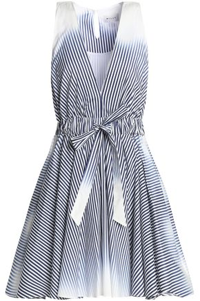 MILLY Dégradé striped cotton-poplin mini dress