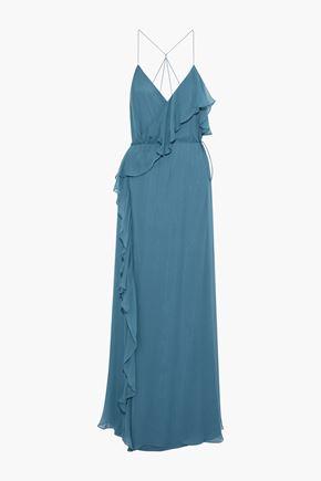fc59c1509a0317 HAUTE HIPPIE Metamorphosis ruffled silk crepe de chine wrap gown