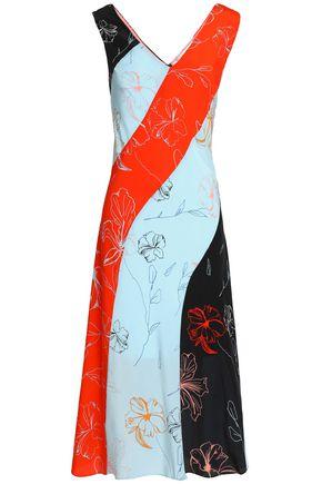 DIANE VON FURSTENBERG Color-block printed silk-twill dress