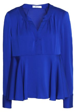 MILLY Ruffled stretch-silk crepe de chine peplum blouse