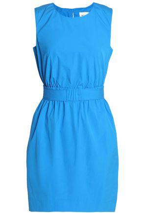 MILLY Gathered cotton-blend poplin mini dress