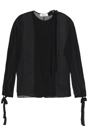 DIANE VON FURSTENBERG Bow-detailed silk-voile blouse
