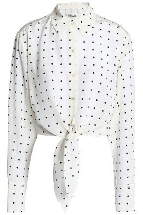 DIANE VON FURSTENBERG Tie-front cropped polka-dot silk shirt