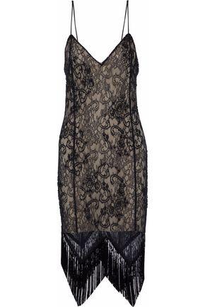 HAUTE HIPPIE Fringe-trimmed embellished lace dress