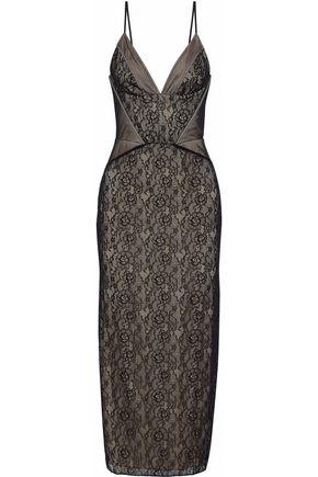 HAUTE HIPPIE Tess tulle-paneled lace midi dress