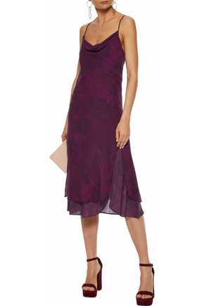 HAUTE HIPPIE Draped printed stretch-silk dress
