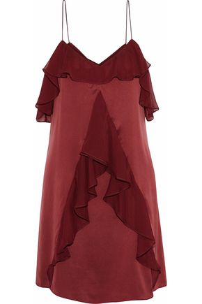 HAUTE HIPPIE Bibi ruffled chiffon-trimmed washed-silk mini dress